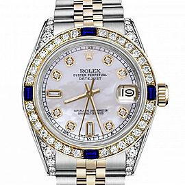 Women's Rolex 31mm Datejust Two Tone Jubilee White MOP Mother of Pearl Dial Diamond Accen Bezel + Lugs + Sapphire 68273