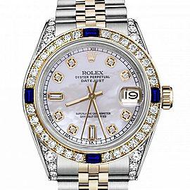 Women's Rolex 31mm Datejust Two Tone Jubilee White MOP Mother of Pearl Dial Diamond Accen Bezel + Lugs + Sapphire 68273