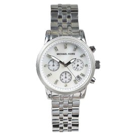 Michael Kors Silver Tone Stainless Steel Mother of Pearl Chronograph Womens Watch