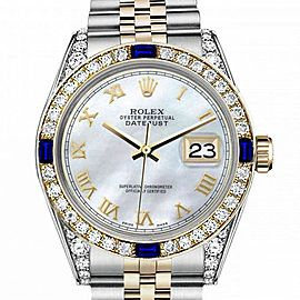 Women's Rolex 31mm Datejust Two Tone Jubilee White MOP Mother Of Pearl Roman Numeral Dia Bezel + Lugs + Sapphire