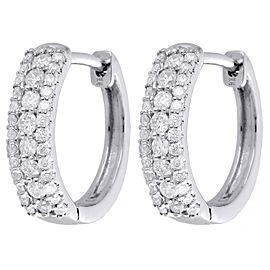 10K White Gold with 0.48ct Diamond Mini Tier Hoops Huggies Earrings
