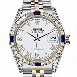 Women's Rolex 31mm Datejust Two Tone Jubilee White Roman Numeral Dial Bezel + Lugs + Sapphire
