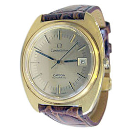 Omega Constellation Stainless Steel Yellow Gold / Leather Vintage 38mm Mens Watch
