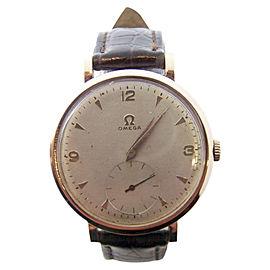Omega 18K Rose Gold / Leather Manual Vintage 38mm Mens Watch
