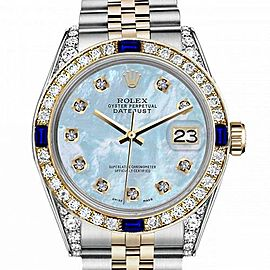 Women's Rolex 31mm Datejust Two Tone Jubilee Baby Blue MOP Mother Of Pearl Dial Diamond Accent Bezel + Lugs + Sapphire