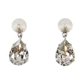 Givenchy Silver Tone Hardware with Crystal Spiked Drop Earrings