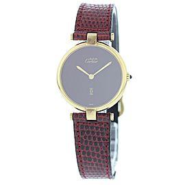 Cartier Vendome Argent & Leather Burgundy Dial Quartz Vintage 30mm Womens Watch