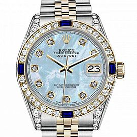 Women's Rolex 31mm Datejust Two Tone Jubilee Baby Blue MOP Mother Of Pearl Dial Diamond RRT Bezel + Lugs + Sapphire