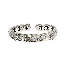 Judith Ripka 925 Sterling Silver with Cubic Zirconia Heart Station Bangle Bracelet