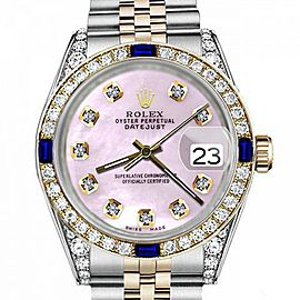 Women's Rolex 31mm Datejust Two Tone Jubilee Pink MOP Mother Of Pearl Diamond Dial Bezel + Lugs + Sapphire