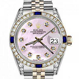 Women's Rolex 31mm Datejust Two Tone Jubilee Pink MOP Mother Of Pearl Diamond Dial Bezel + Lugs + Sapphire