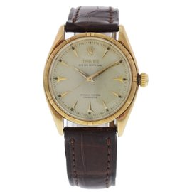 Rolex Oyster Perpetual 6565 Rose Gold Automatic Vintage 33.5mm Mens Watch
