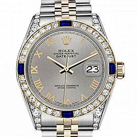 Women's Rolex 31mm Datejust Two Tone Jubilee Slate Grey Roman Numeral Dial Bezel + Lugs + Sapphire