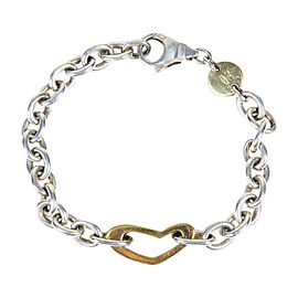 Movado 925 Sterling Silver & 18K Yellow Gold Chain Link Charm Bracelet