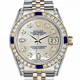 Women's Rolex 31mm Datejust Two Tone Jubilee White MOP Mother Of Pearl 8 + 2 Diamond Dial Bezel + Lugs + Sapphire