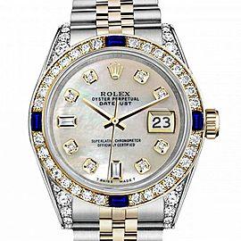 Women's Rolex 31mm Datejust Two Tone Jubilee White MOP Mother Of Pearl 8 + 2 Diamond Dial Bezel + Lugs + Sapphire