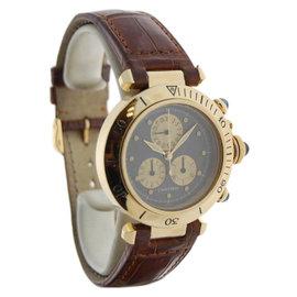 Cartier Pasha 1353 18K Yellow Gold & Brown Leather Strap Quartz 35mm Mens Watch