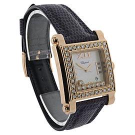 Chopard Happy Sport 27/5321 18K Rose Gold & Diamond Mother of Pearl Quartz 22.5mm Womens Watch