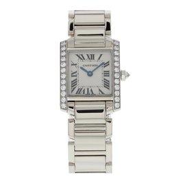 Cartier Tank Francaise 2403 18K White Gold with Diamond Quartz 23mm Womens Watch