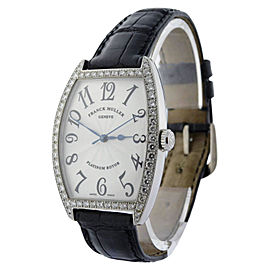 Franck Muller Curvex 2852 SC DP 18K White Gold & Leather with Diamonds Automatic 31mm Mens Watch