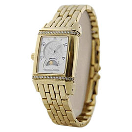 Jaeger LeCoultre Reverso 296.1.74 18K Yellow Gold & Diamonds Manual 24mm Mens Watch