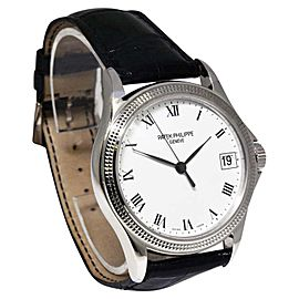 Patek Philippe Calatrava 5117G-001 18K White Gold & Leather Automatic 37mm Mens Watch
