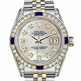 Women's Rolex 31mm Datejust Two Tone Jubilee White MOP Mother Of Pearl Dial Diamond Accent Bezel + Lugs + Sapphire