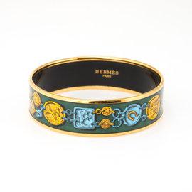 Hermes Enamel & Gold Tone Hardware Equestrian Horse Pattern Bracelet