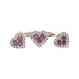14K Yellow Gold with Ruby and Diamond Ring & Earrings Set