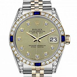 Women's Rolex 31mm Datejust Two Tone Jubilee Champagne Color Diamond Accent dial Bezel + Lugs + Sapphire