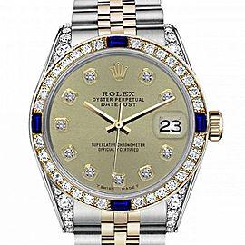 Women's Rolex 31mm Datejust Two Tone Jubilee Champagne Color Diamond Accent dial Bezel + Lugs + Sapphire