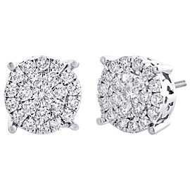 10K White Gold with 1.50ct Diamond Cluster Stud Earrings