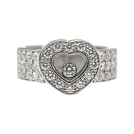 Chopard Happy Diamond 18K White Gold 0.74ct Diamond Heart Ring Size 4