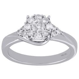 10K White Gold 0.50ct Diamond Flower Swirl Engagement Ring Size 7
