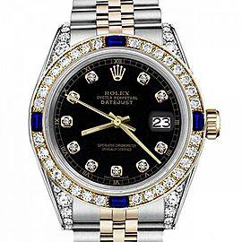 Men's Rolex 36mm Datejust Two Tone Jubilee Black Color Dial Bezel +Lugs + Sapphire
