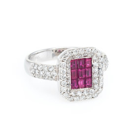 Effy 14K White Gold with 0.50ct. Ruby and 0.70ct. Diamond Square Cocktail Ring Size 7