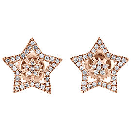 10K Rose Gold 0.20ct Diamond Star Studs Double Frame Pave Earrings