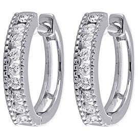 10K White Gold 0.25ct Channel Set Diamond Mini Hoop Huggie Earrings