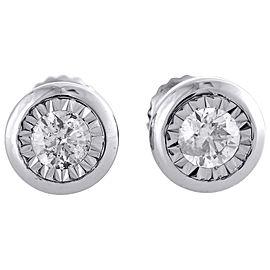 10K White Gold 0.50ct Round Diamond Studs Bezel Set Earrings