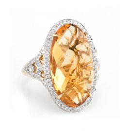 M Christoff Citrine Diamond Cocktail Ring Estate 14k Yellow Gold Fine Jewelry