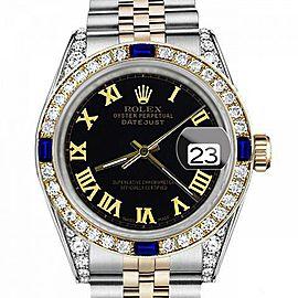 Men's Rolex 36mm Datejust Two Tone Jubilee Black Color Roman Numeral Dial Bezel + Lugs + Sapphire