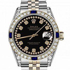 Men's Rolex 36mm Datejust Two Tone Black Color String Diamond Accent Dial Bezel + Lugs + Sapphires 16013