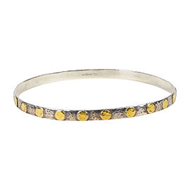 "Gurhan 925 Sterling Silver and 24K Yellow Gold Plated ""Edifice Midnight Dot"" Bracelet"