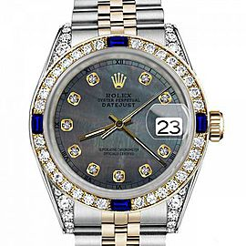 Men's Rolex 36mm Datejust Two Tone Jubilee Black MOP Mother Of Pearl Dial Diamond Accent RT Bezel + Lugs + Sapphire