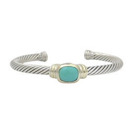 David Yurman 925 Sterling Silver & 14K Yellow Gold with Turquoise Cable Cuff Bracelet
