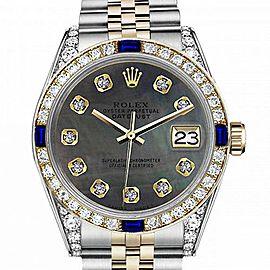 Men's Rolex 36mm Datejust Two Tone Jubilee Black MOP Mother Of Pearl Dial Diamonds Bezel + Lugs + Sapphire