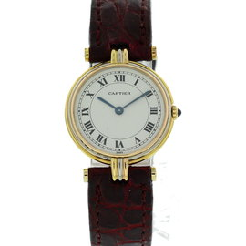 Cartier Vendome 881004 Trinity 18K Yellow Gold & Leather Quartz 25mm Womens Watch