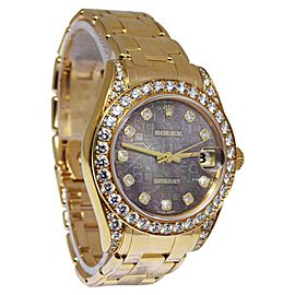 Rolex Pearlmaster 81158 18K Yellow Gold with Diamond Automatic 34mm Womens Watch