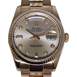 Rolex Day-Date 118235 18K Rose Gold with Diamond Automatic 36mm Mens Watch