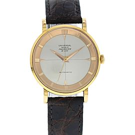 Universal Geneve Polerouter 1761383 18K Rose Gold & Leather Automatic Vintage 35mm Mens Watch